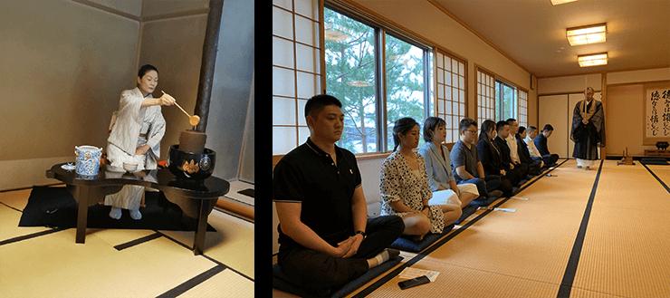 午後、高円寺にて座禅、茶道を体験し、心をリセットし伝統文化を味わいました。